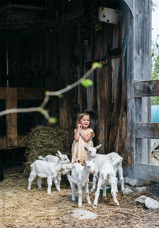 Farm girl plays with her goats in a barn by Cara Dolan for Stocksy United