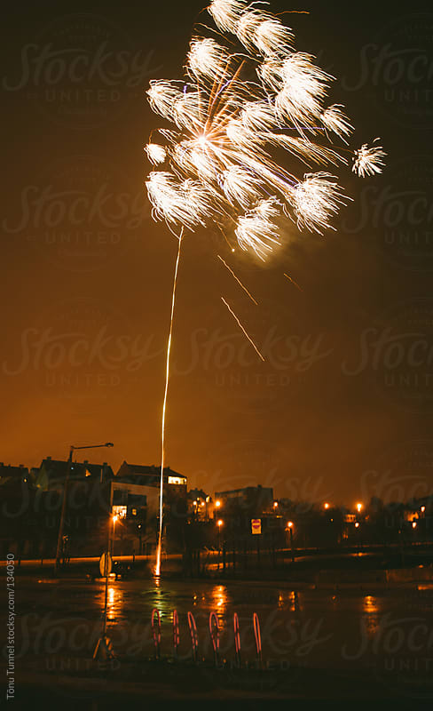 Fireworks in a suburban area by Tõnu Tunnel for Stocksy United