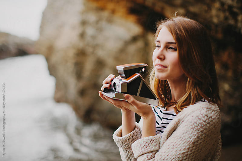girl with vintage camera by Dylan M Howell Photography for Stocksy United