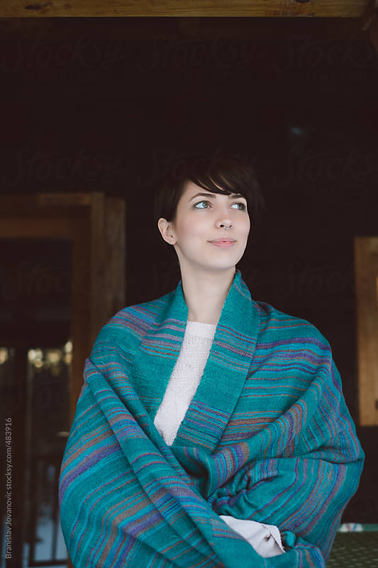 Beautiful young woman with blanket by Brkati Krokodil for Stocksy United