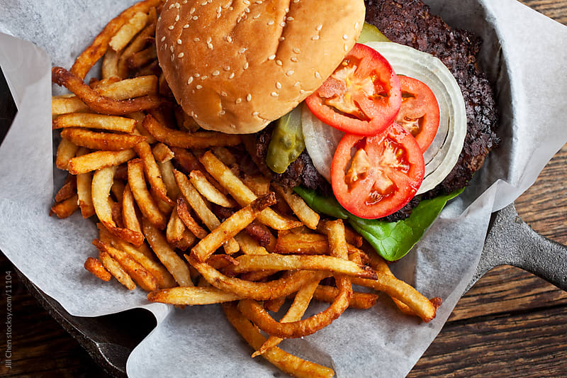 Hamburger and Fries by Jill Chen for Stocksy United