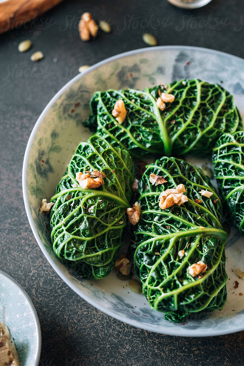 Stuffed Savoy Cabbage Leaves By Natasa Mandic Cabbage Stuffed Stocksy United