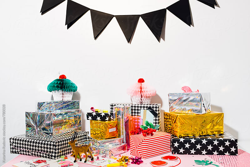 Colourful and Shiny Presents Ready For Christmas Party by Katarina Radovic for Stocksy United