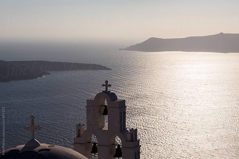 Dusk over Firostefani church Santorini just after sunset by Paul Phillips for Stocksy United