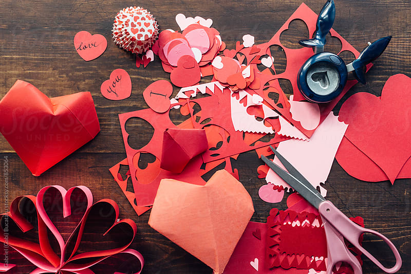 Valentine's day craft mess by Gabriel (Gabi) Bucataru for Stocksy United