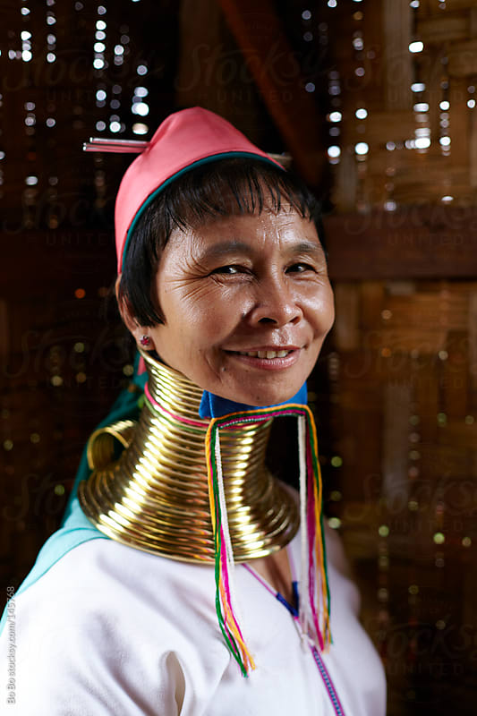 portrait of long neck woman in Myanmar by Bo Bo for Stocksy United
