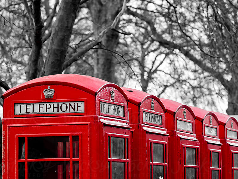 Red Telephone Boxes. London. England by Travelpix for Stocksy United