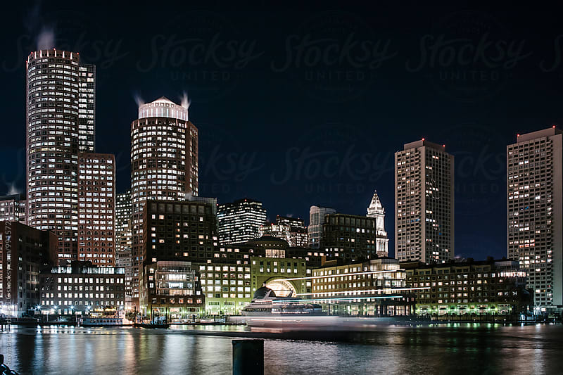 Boston Financial District at Night by Raymond Forbes LLC for Stocksy United