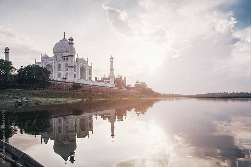 Sunset at Taj Mahal by RG&B Images for Stocksy United