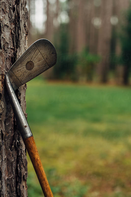 Vintage golf club against a tree by Gabriel (Gabi) Bucataru for Stocksy United