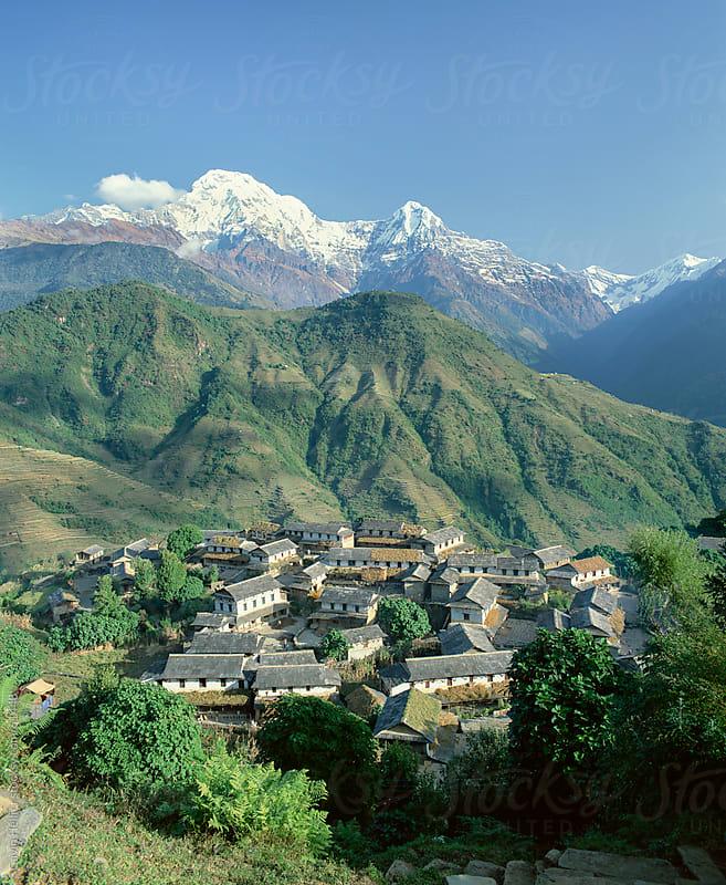Annapurna South 7219m, Gandruk Village, Annapurnas, Nepal by Gavin Hellier for Stocksy United