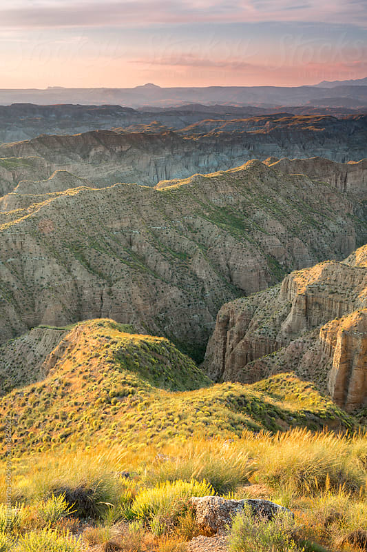 Beautiful badlands landscape at sunrise by Marilar Irastorza for Stocksy United