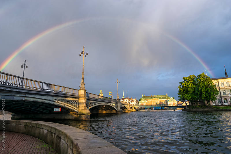 Stockholm, Sweden - Rainbow over the Vasa Bridge (Vasabron) by Tom Uhlenberg for Stocksy United