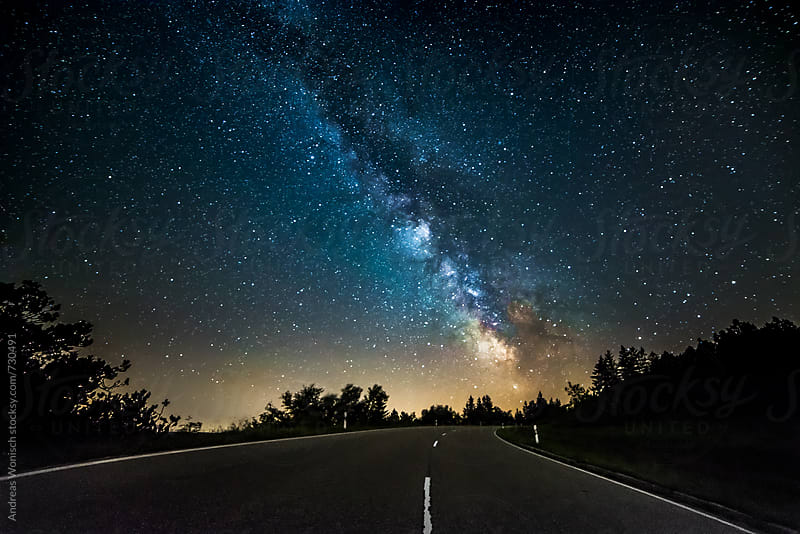 Milky Way over German Road by Andreas Wonisch for Stocksy United