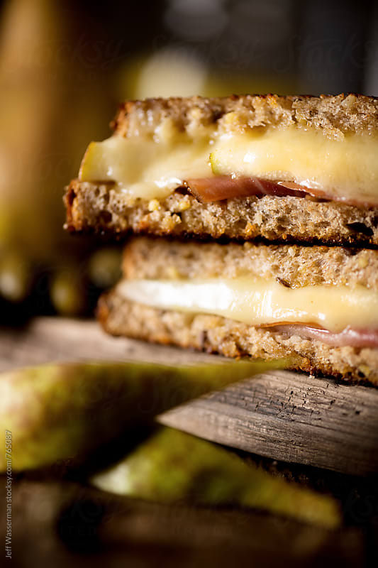 Grilled Cheese with Prosciutto and Pear by Jeff Wasserman for Stocksy United