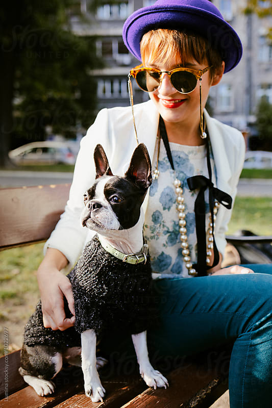 Stylish Woman With Her Dog by Lumina for Stocksy United