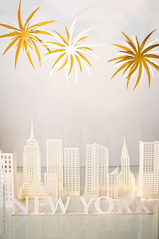 Celebration with firewoks in NYC by Beatrix Boros for Stocksy United