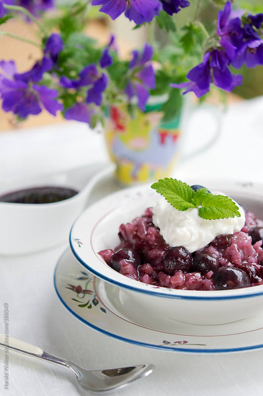 Crockpot blueberry rice pudding by Harald Walker for Stocksy United