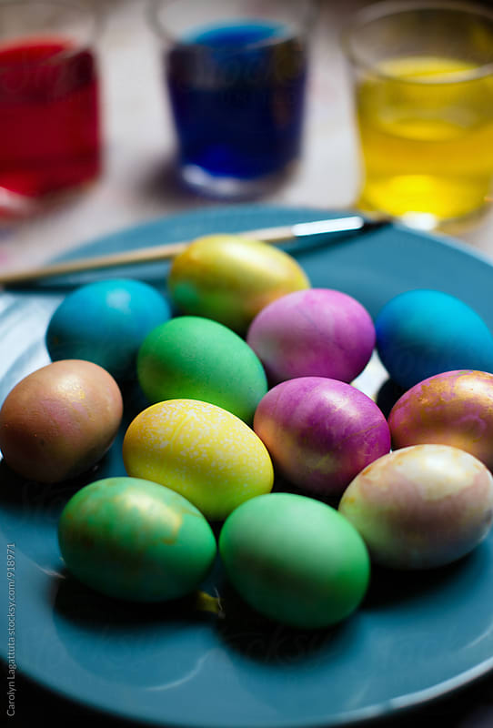 Colorful easter eggs with gold accents by Carolyn Lagattuta for Stocksy United