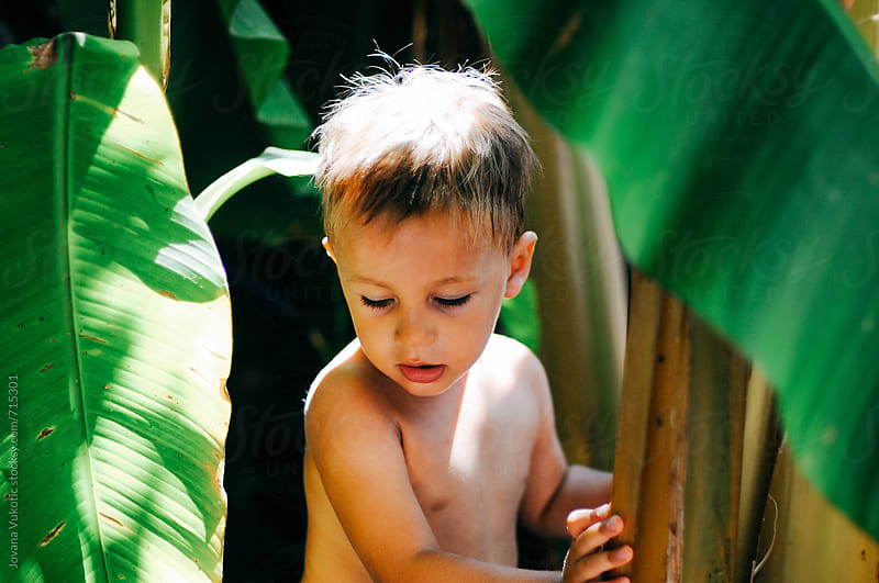Child within banana leafs by Jovana Vukotic for Stocksy United
