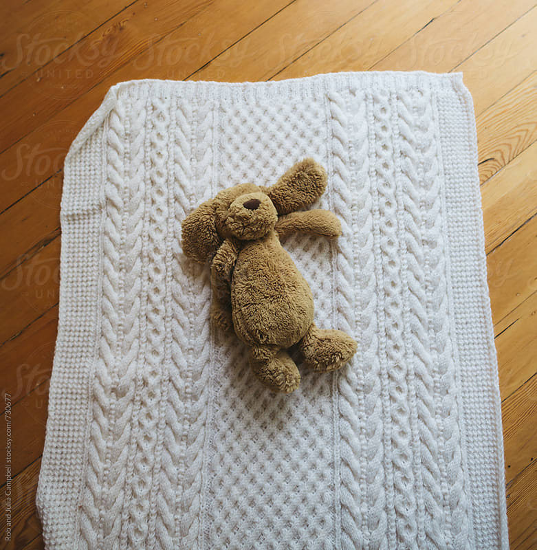 Stuffed dog lying on blanket on floor by Rob and Julia Campbell for Stocksy United