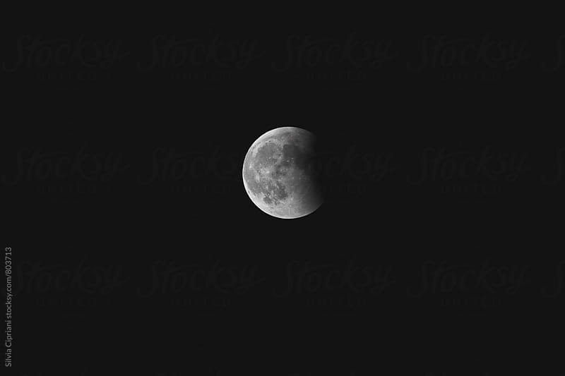 Moon in the dark sky by Silvia Cipriani for Stocksy United