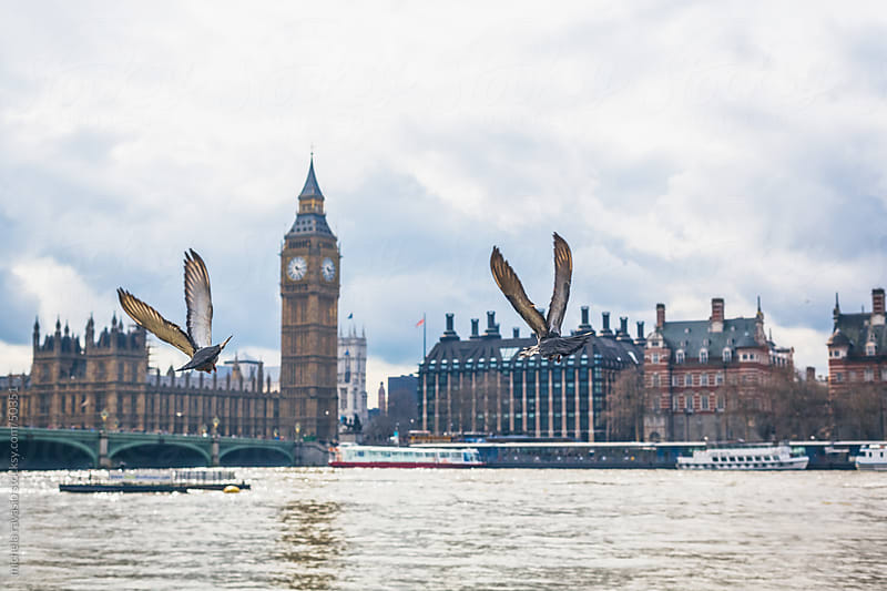 London Westminster Bridge and Thames river by michela ravasio for Stocksy United
