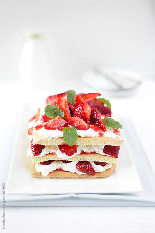 Strawberry Cake by Orsolya Bán for Stocksy United