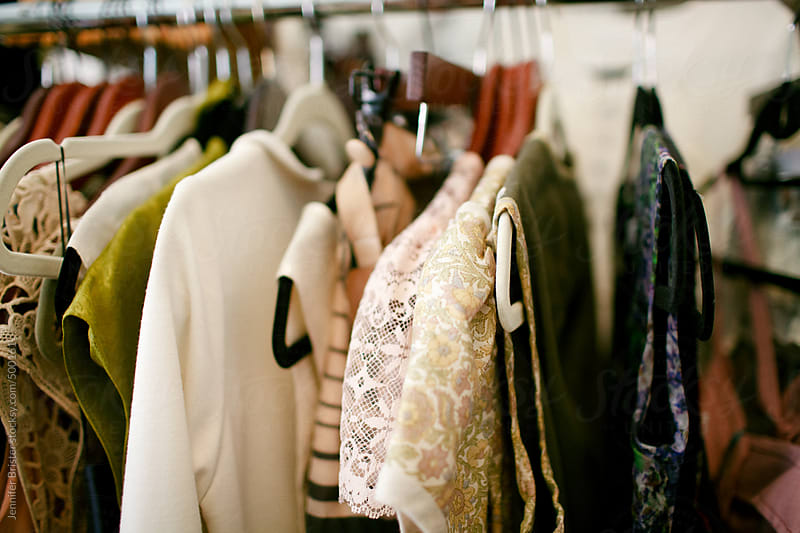 Rack of various women's clothing.  by Jennifer Brister for Stocksy United