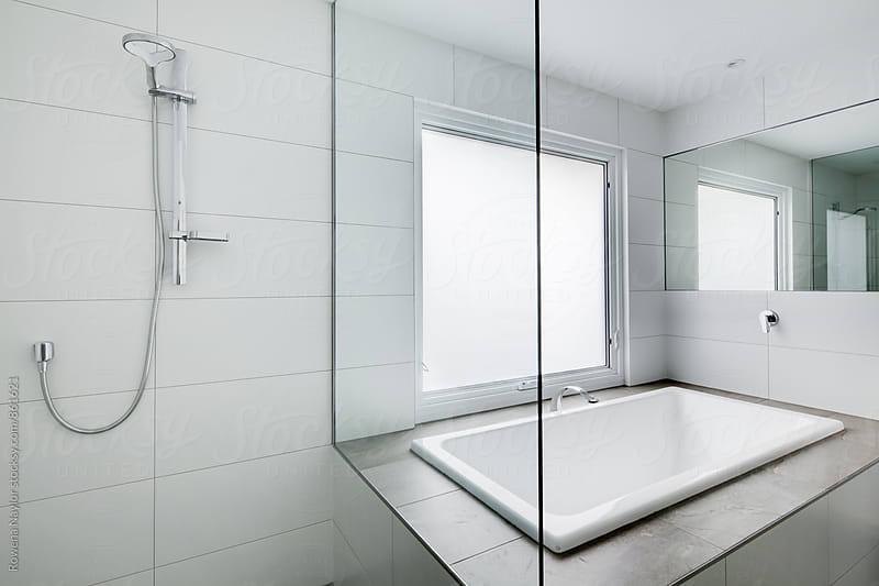 Modern empty bathroom by Rowena Naylor for Stocksy United