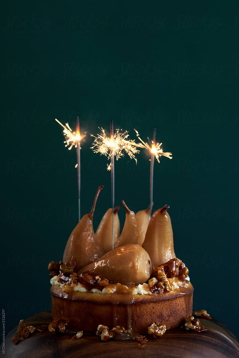 Peachy Birthday Cake With Sparklers By Jill Chen Stocksy United Funny Birthday Cards Online Inifodamsfinfo