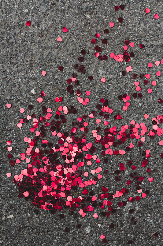 Heart shaped confetti by Tatjana Zlatkovic for Stocksy United