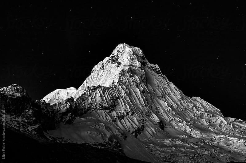 High altitude mountain in black and white by Mick Follari for Stocksy United