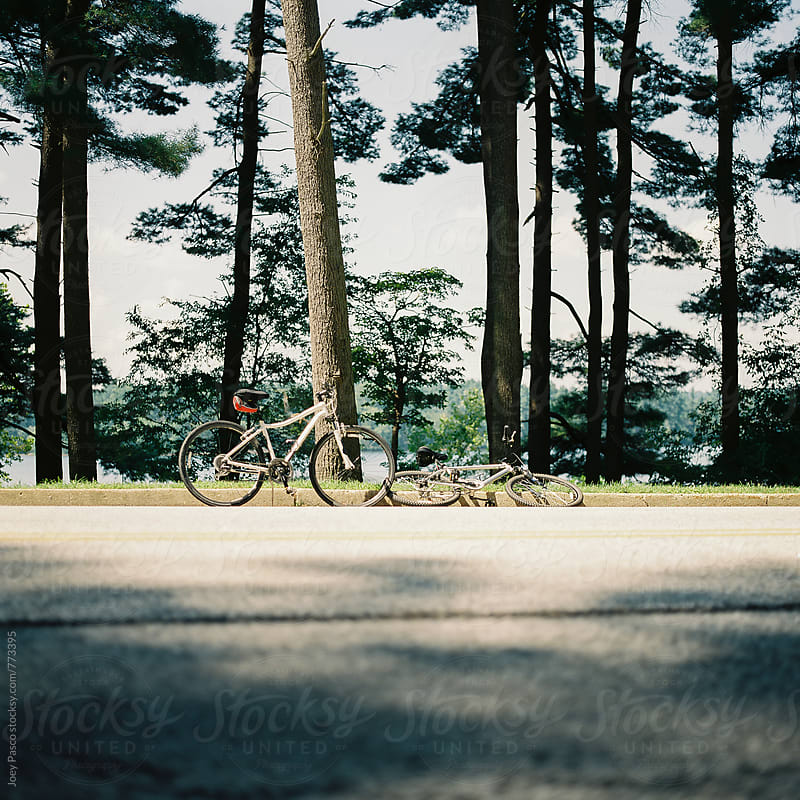 Bicycles by the side of the road by Joey Pasco for Stocksy United