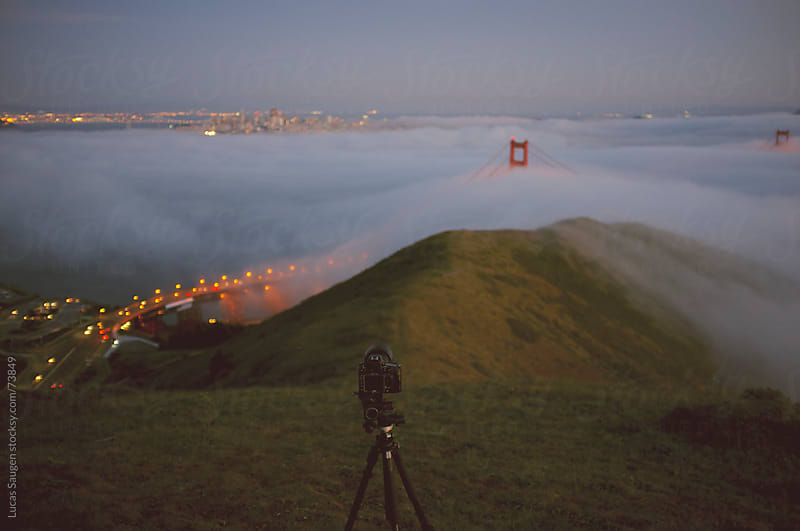 Camera over the Golden Gate Bridge on stop of Slacker Hill by Lucas Saugen for Stocksy United