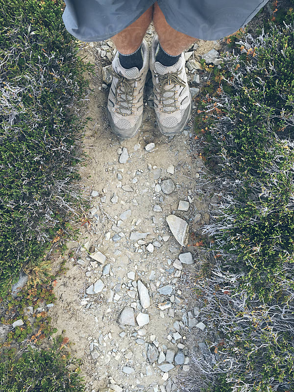 Male hiker walking on worn trail, Central Cascades by Paul Edmondson for Stocksy United