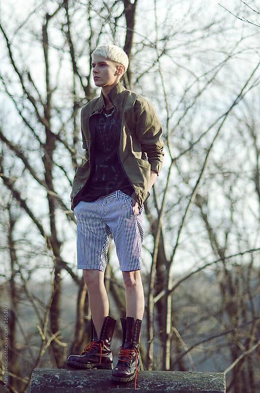 Model posing ,fashion shoot,boyish by Marija Anicic for Stocksy United