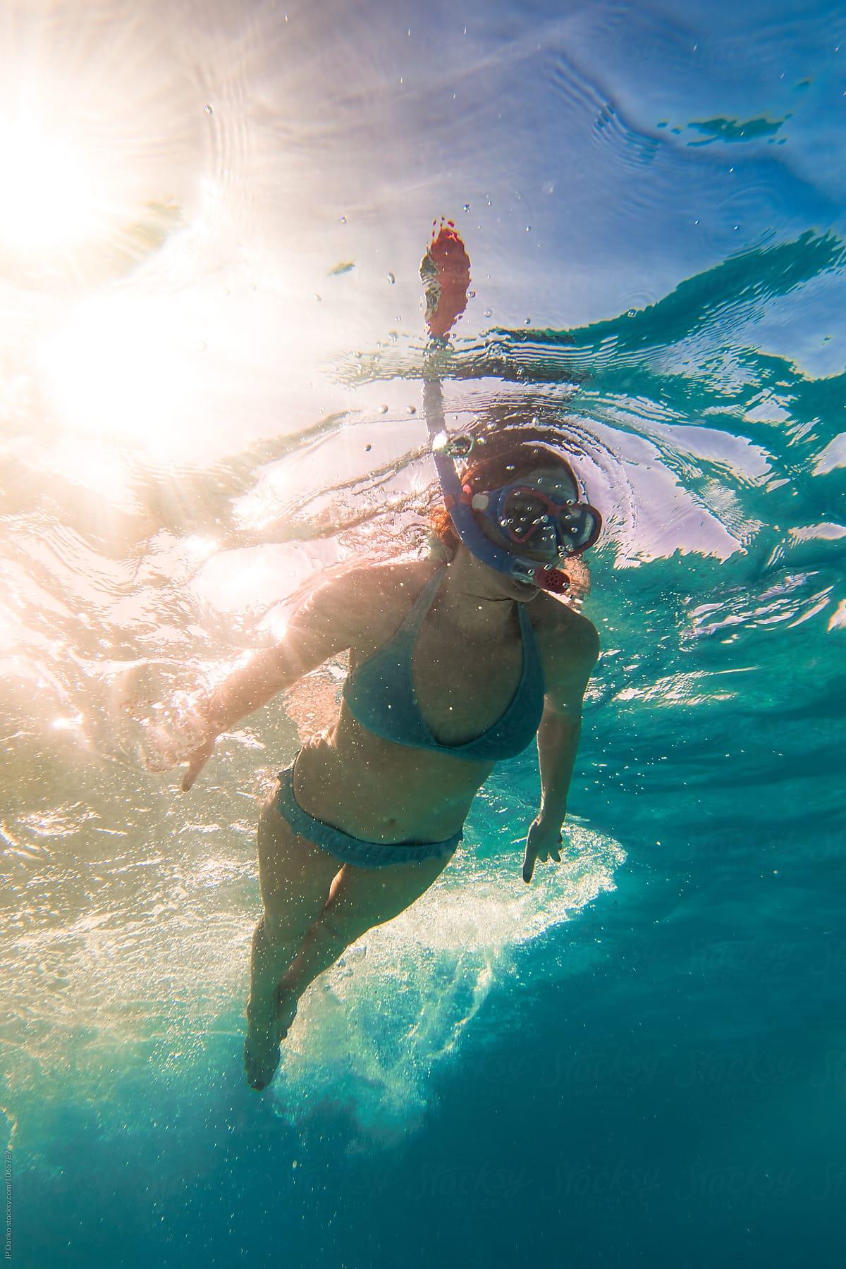 Woman In Bikini Snorkeling Underwater at All Inclusive Caribbean Resort  White Sand Beach by JP Danko