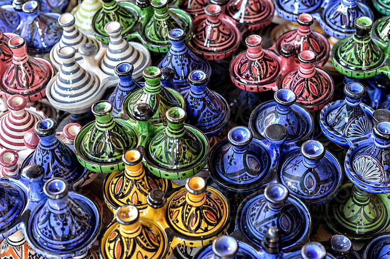 Multicolor ceramic tajines in the souks of Marrakech by Bisual Studio for Stocksy United