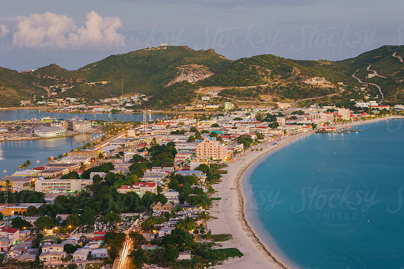 West Indies, Caribbean, Lesser Antilles, Leeward Islands, St Martin / Sint Maarten, Netherlands Antilles, elevated view over Great Bay and the Dutch capital of Philipsburg by Gavin Hellier for Stocksy United