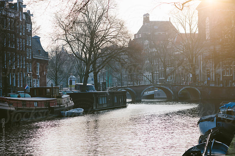 Amsterdam canal at sunrise by Simone Becchetti for Stocksy United