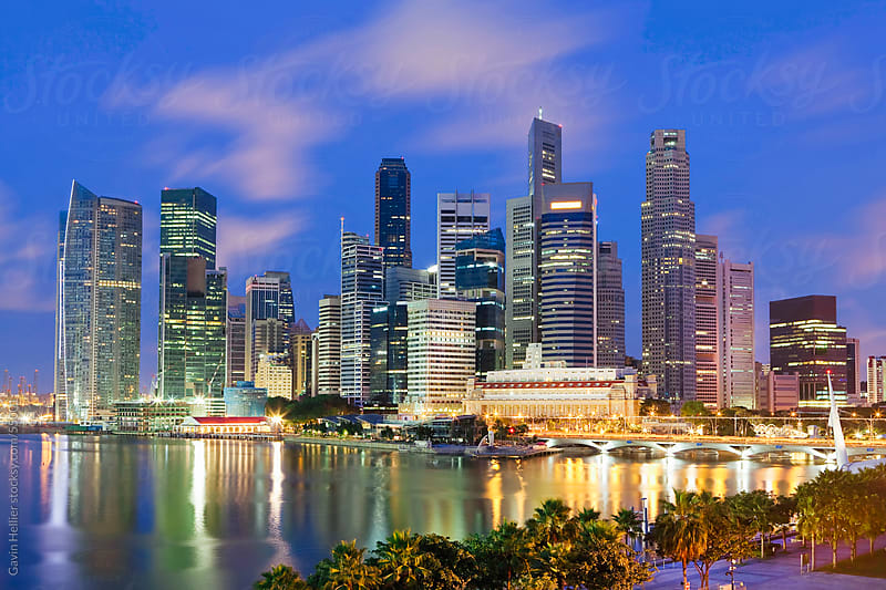 Asia, Singapore, Singapore Skyline and Financial district at dawn by Gavin Hellier for Stocksy United
