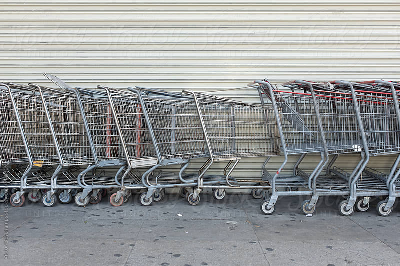 Multiple Shopping Carts by Victor Deschamps for Stocksy United