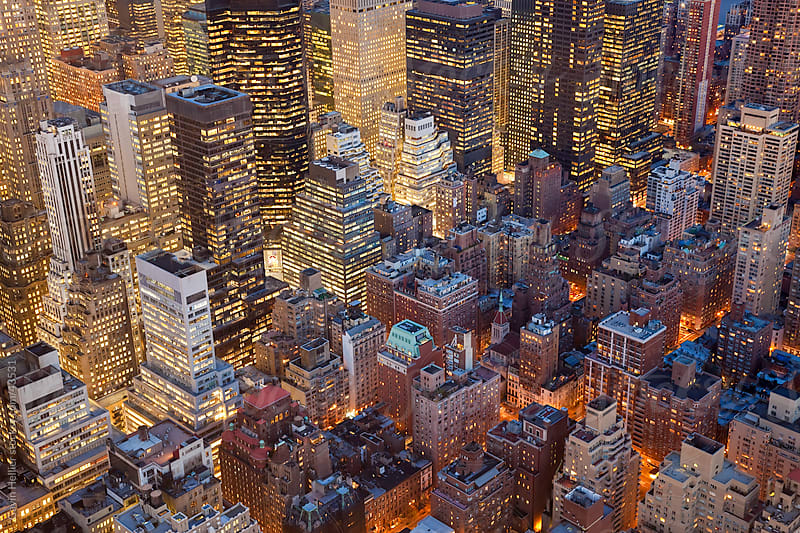 USA, New York City, Manhattan,  Elevated view of mid-town Manhattan by Gavin Hellier for Stocksy United
