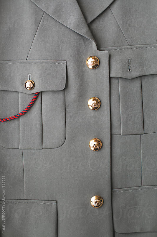 Close up of Australian army / military uniform jacket by Natalie JEFFCOTT for Stocksy United