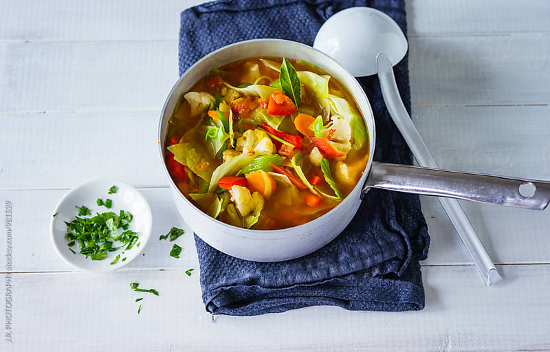 Cabbage soup in sauce pan by J.R. PHOTOGRAPHY for Stocksy United