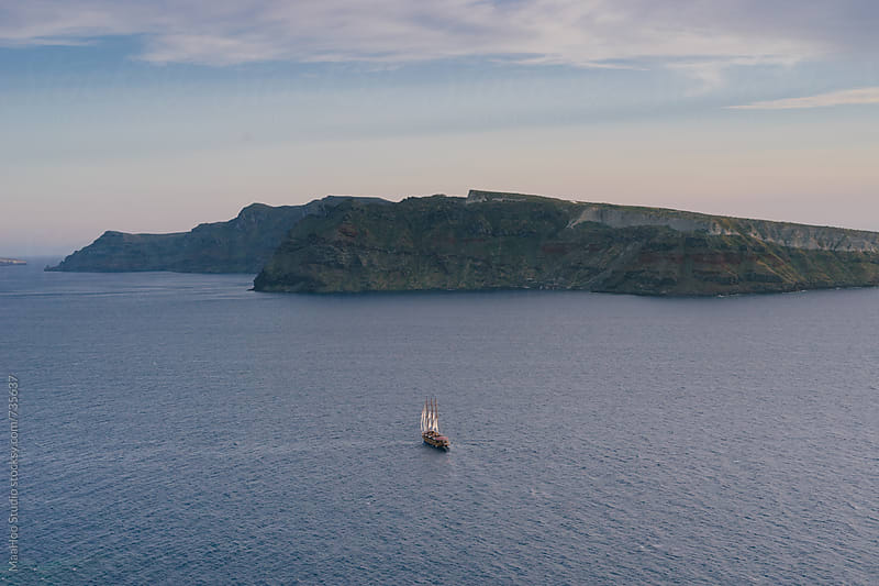 Blue sea in summer, greek islands, Santorini by MaaHoo Studio for Stocksy United