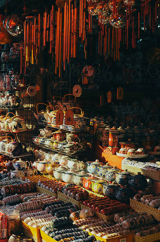 Antique Porcelain On A Chinese Street Market by Alexander Grabchilev for Stocksy United
