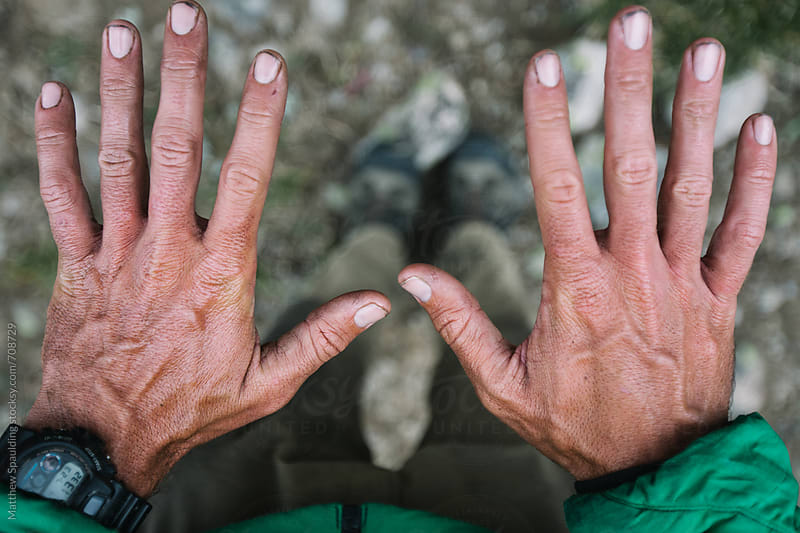 Dirty hands of hiker by Matthew Spaulding for Stocksy United