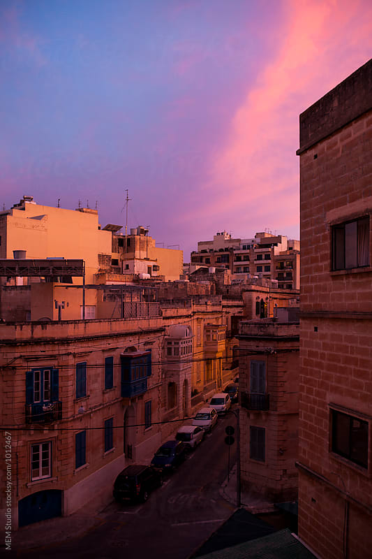 Beautiful sunset over Tas-Sliema, Malta by MEM Studio for Stocksy United